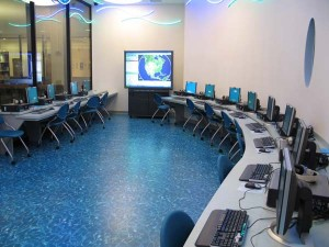 Our computer classroom, also known as the cyberpool.