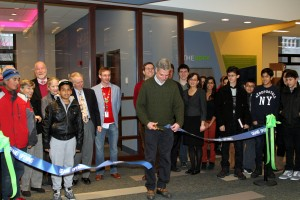 Mayor Tom Roach cuts the ribbon to officially open The Edge on December 14.