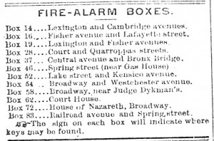 List of Fire-Alarm Boxes in White Plains in 1898, from the November 18, 1898 Westchester County Reporter