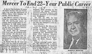December 21, 1964 Article about Mercer's father in the Reporter Dispatch