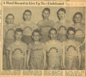 Panthers basketball team in the Reporter Dispatch on March 27, 1956.