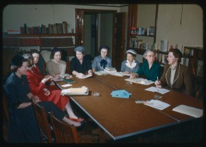 The League of Women Voters in the Library on Grand Street in 1953.