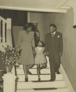 "Bettie Parham, Marcia, and Samuel L. Parham, Jr. at ""Parham Place,"" Bettie's mansion in Croton-On-Hudson"